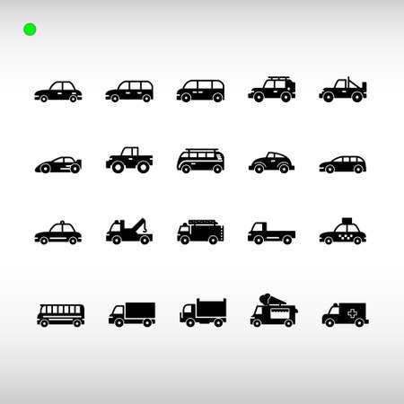 land vehicle icon set in black or glyph style, unique design, expanded stroke, and editable vector with any color or size what you like