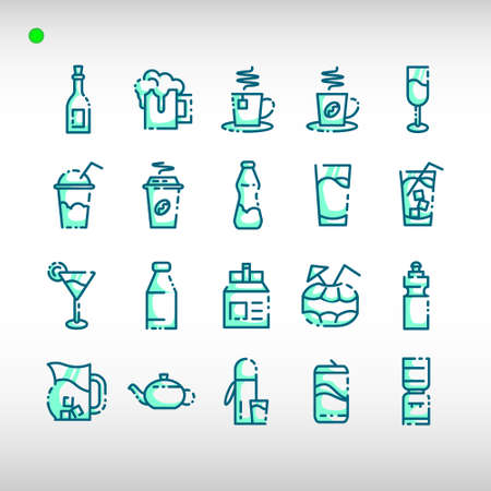 beverage icon set in two tone blue color style, unique design, expanded stroke, and editable vector with any color or size what you like Stock Illustratie