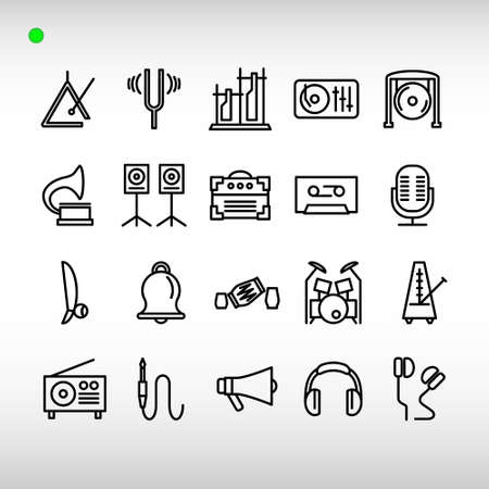 musical instrument icon set in outline style, unique design, expanded stroke, and editable vector with any color or size what you like