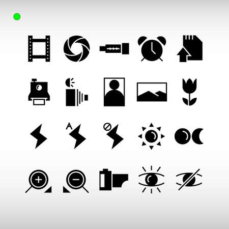 photography icon set in black or glyph style, unique design, expanded stroke, and editable vector with any color or size what you like Vektorové ilustrace