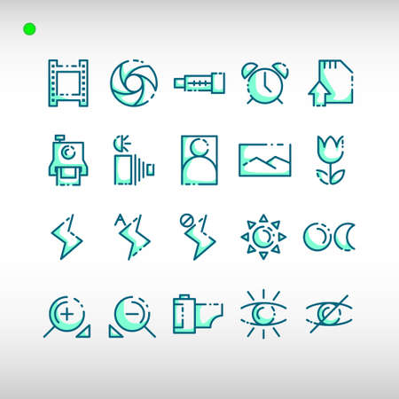 photography icon set in two tone blue color style, unique design, expanded stroke, and editable vector with any color or size what you like