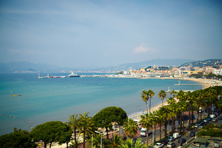View at Croisette promenade in Cannes.