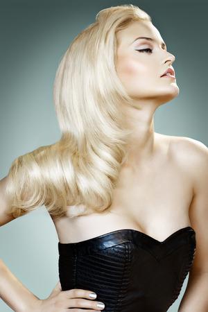 locks: Beautiful blond woman posing   Stock Photo
