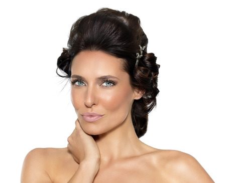 haircurlers: Beautiful woman with haircurlers.