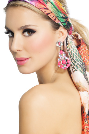 silks: Beautiful glowing woman in summer fashion silk scarf.