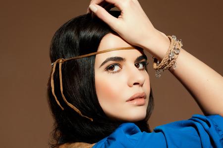 black hair blue eyes: Beautiful woman in Gipsy style.
