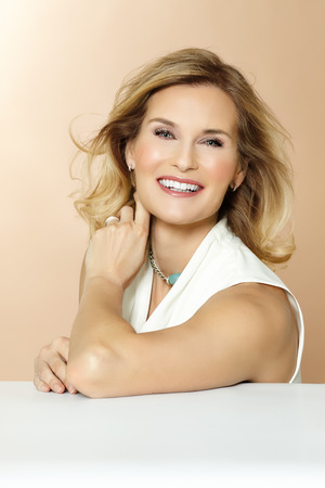 contemporary woman: Beautiful polished 40 year old woman.