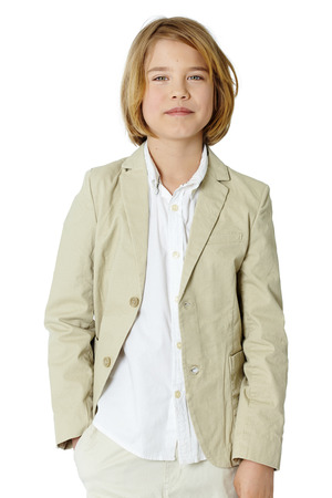 ten year old: Ten year old boy isolated on white series.
