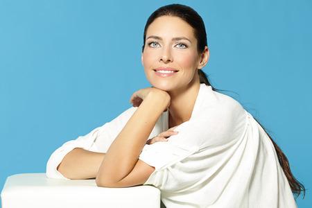 Smiling elegant Caucasian woman.