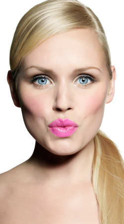 pouty: Model with fun facial expression. Stock Photo