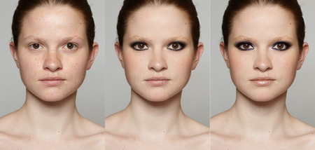 contrasts: Realistic digital make-up before and after. Stock Photo