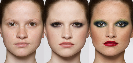 makeover: Faces of the same woman with fashion makeup. Makeover concept.