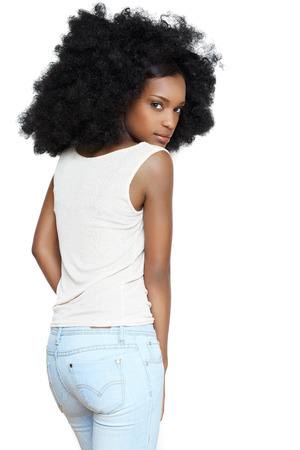 afro caribbean: Caribbean girl with big afro hair.