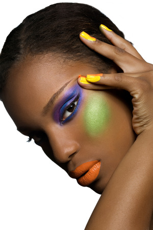 African model with colorful makeup.