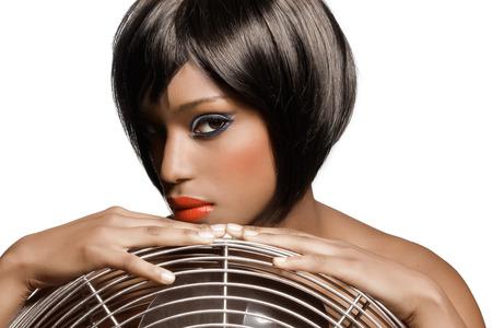 hair short: La ragazza con i capelli corti. Archivio Fotografico