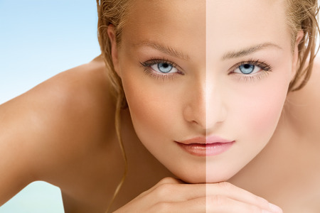 Beauty visual about suntan. Model's face divided in two parts - tanned and blanc.