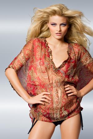 tunic: Model wearing print tunic.