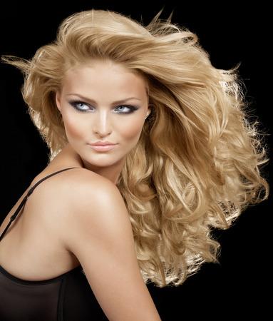 blonde  blue eyes: Model with long blond hair.