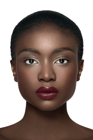 Direct front view of an African American model. Stock Photo