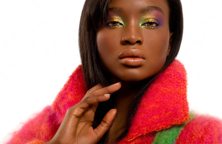 mohair: Model wearing bright colors.