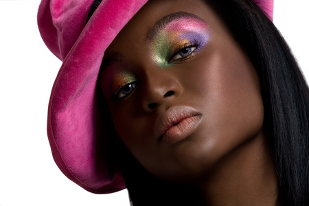 pink hat: Model wearing a bright pink hat.