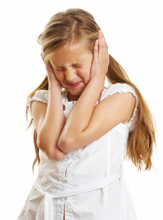 yo: Ten year old caucasian girl with long hair posing isolated on white.