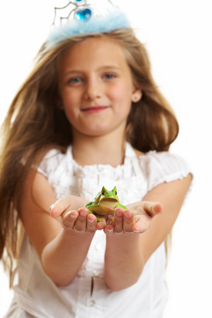 10 years old: Ten year old caucasian girl with long hair posing isolated on white.
