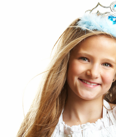 10 years girls: Ten year old caucasian girl with long hair posing isolated on white.