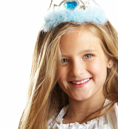ten year old: Ten year old caucasian girl with long hair posing isolated on white.