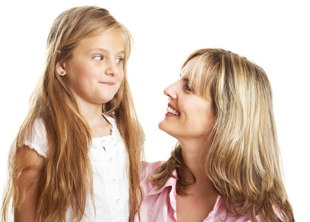 10 year old: Ten year old caucasian girl with her mother.