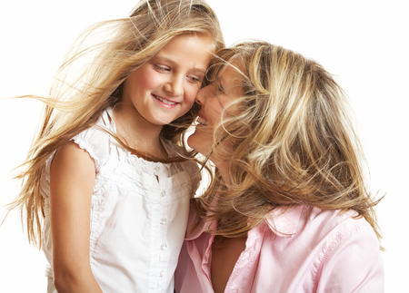 ten year old: Ten year old caucasian girl with her mother.