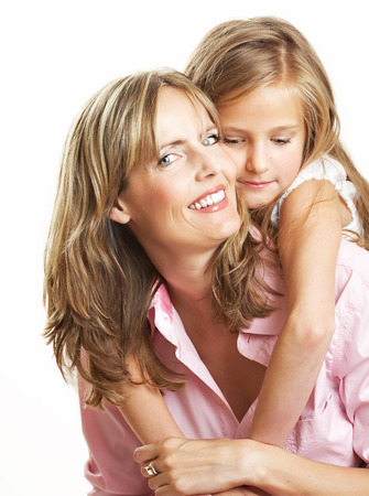 10 years girls: Ten year old caucasian girl with her mother.