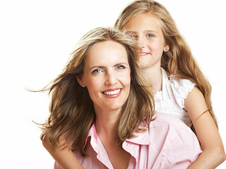 tanned girl: Ten year old caucasian girl with her mother.