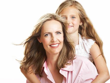 caucasian girl: Ten year old caucasian girl with her mother.