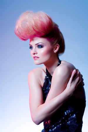 dyed hair: Fashion model with large dyed hair.