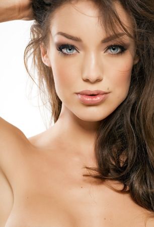 full lips: Gorgeous model with full lips.