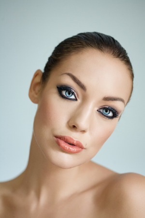 blue eyes: Beautiful woman with blue eyes. 스톡 사진