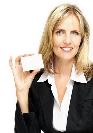 businesscard: Smiling woman holding a blank businesscard.