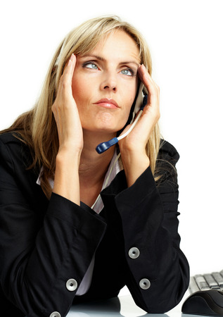 Friendly woman from customer support with talking device. photo