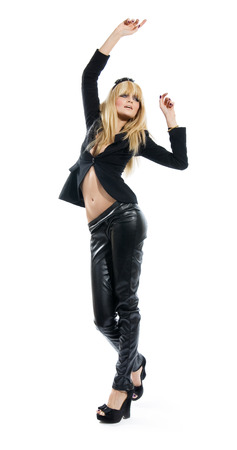 black pants: Dancing girl wearing black. Stock Photo