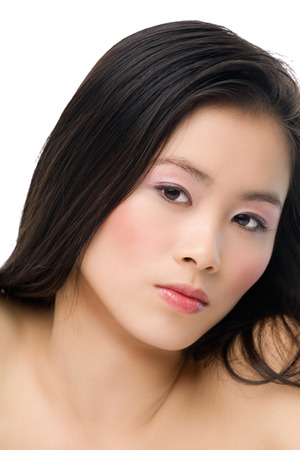 Asian girl on white background. photo