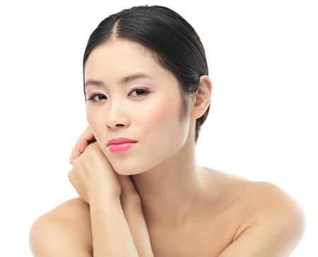 vietnamese ethnicity: Young natural Asian (Vietnamese) woman posing on white background.