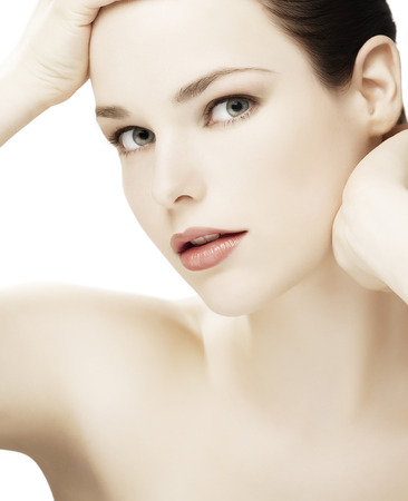 cropped shots: High key image of a young natural woman. Stock Photo