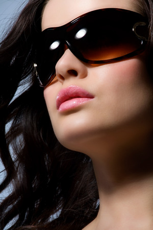 beauty shot: Beauty shot of a woman in large shades. Stock Photo
