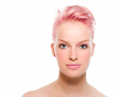 strawberry blonde: Simple front view of a model with strawberry blonde hair. Stock Photo