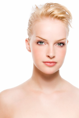 studio photography shot: Portrait of a model with blonde hair.