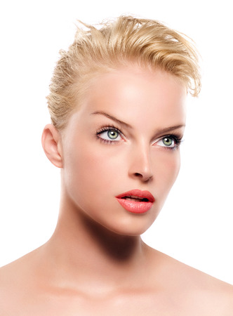 eye red: Beautiful blonde woman. Stock Photo