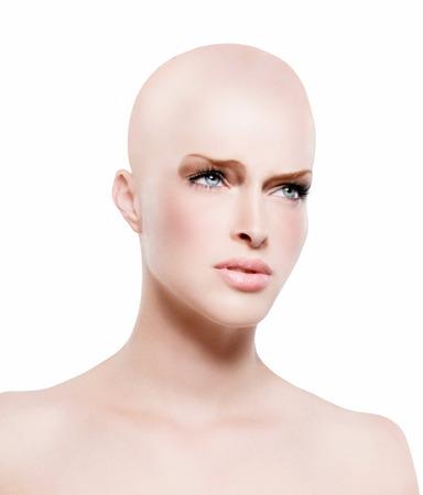 tragic: Bald model with tragic expression. Stock Photo