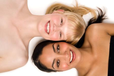 Two beautiful women: Indian and Caucasian.