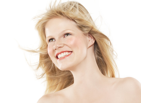 northern european: Happy nordic young woman on white background.